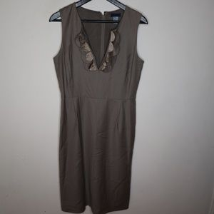 J.CREW Brown Zip Back Split Neck Ruffle Dress